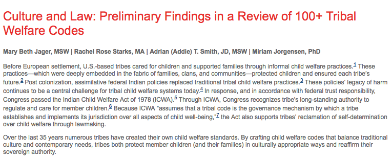 Culture and Law: Preliminary Findings in a Review of 100+ Tribal Welfare Codes