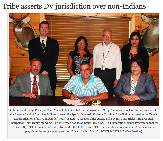 Tribe asserts DV jurisdiction over non-Indians