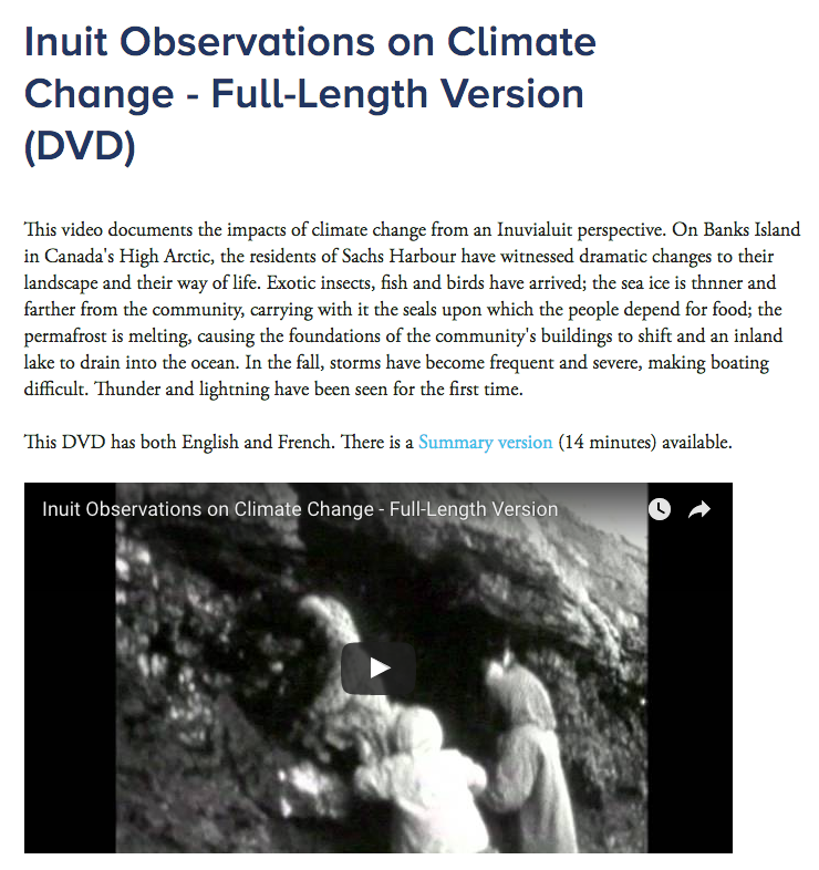 Inuit Observations on Climate Change