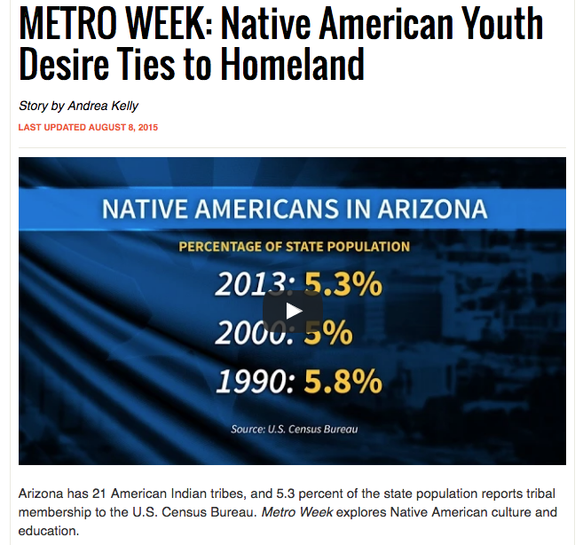 Metro Week: Native American Youth Desire Ties to Homeland
