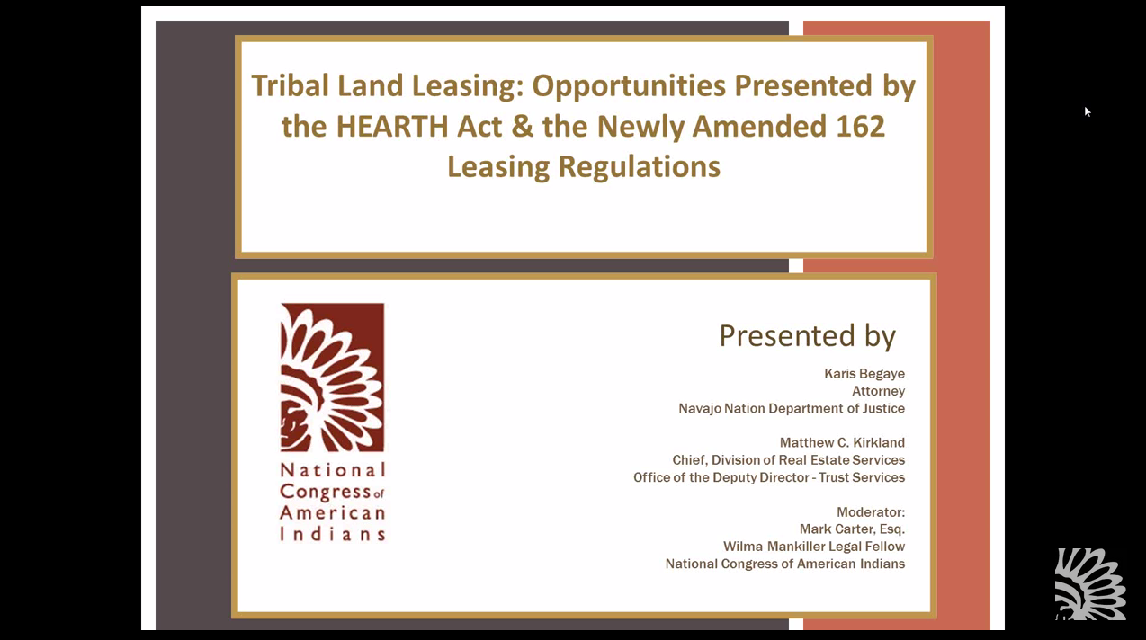 Tribal Land Leasing: Opportunities Presented by the HEARTH Act and Amended 162 Leasing Regulations