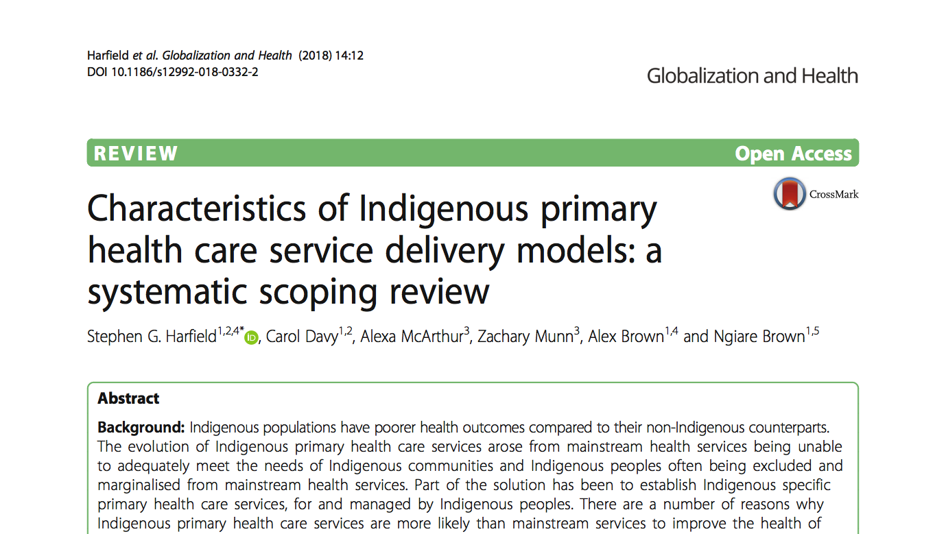 Characteristics of Indigenous primary health care service delivery models: a systematic scoping review