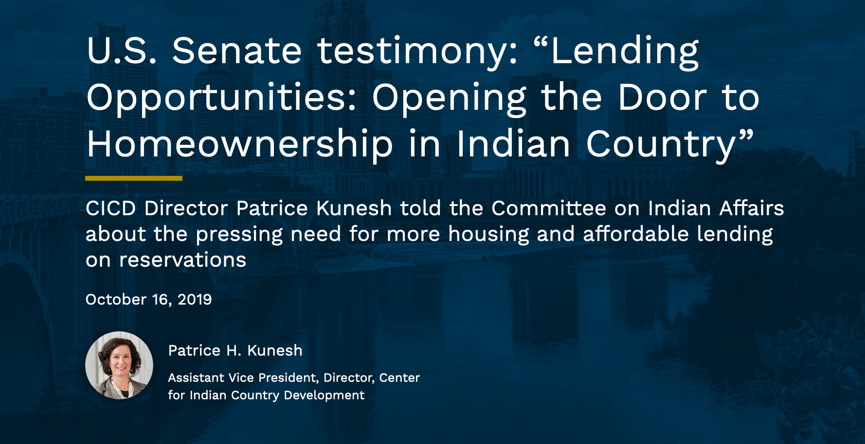"""U.S. Senate testimony: """"Lending Opportunities: Opening the Door to Homeownership in Indian Country"""""""