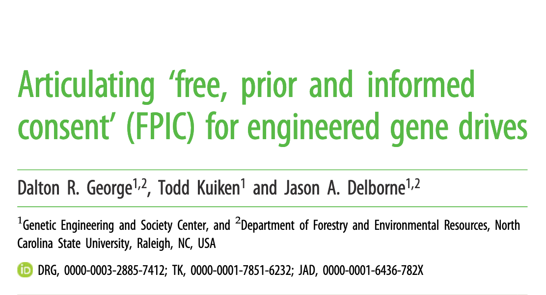 Articulating'free, prior and informed consent' (FPIC) for engineered gene drives