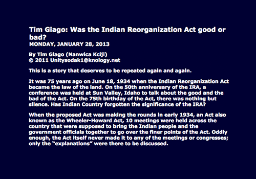 Tim Giago: Was the Indian Reorganization Act good or bad?