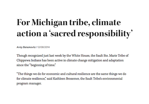 For Michigan tribe, climate action a 'sacred responsibility'