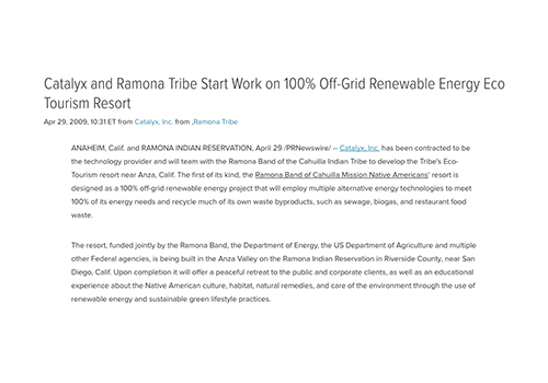 Catalyx and Ramona Tribe Start Work on 100% Off-Grid Renewable Energy Eco Tourism Resort