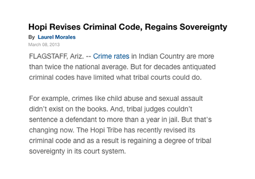Hopi Revises Criminal Code, Regains Sovereignty