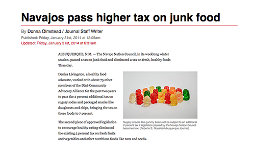 Navajos pass higher tax on junk food