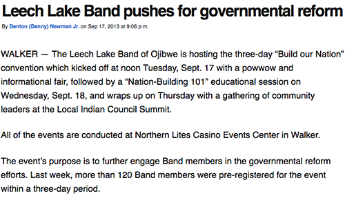 Leech Lake Band pushes for governmental reform