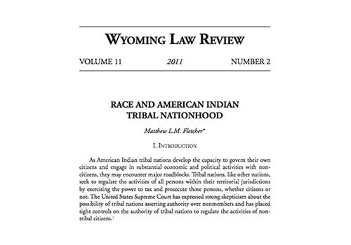 Race and American Indian Tribal Nationhood