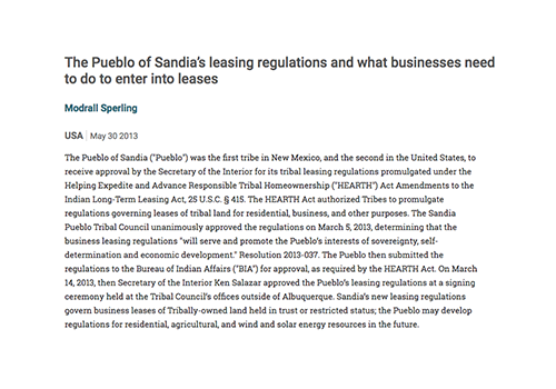 The Pueblo of Sandia's leasing regulations and what businesses need to do to enter into leases