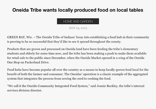 Oneidas want locally produced food on local tables