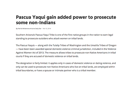 Pascua Yaqui gain added power to prosecute some non-Indians