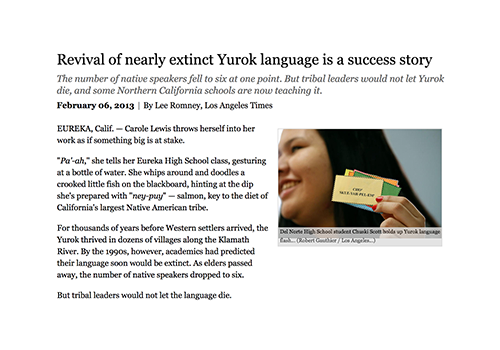 Revival of nearly extinct Yurok language is a success story