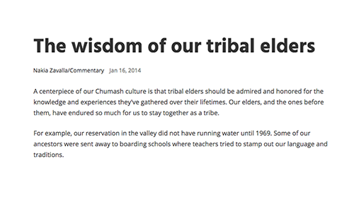 The wisdom of our tribal elders
