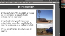Dissolved Uranium and Arsenic in Unregulated Groundwater Sources – Western Navajo Nation