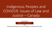 Indigenous Peoples and COVID19: Issues of Law and Justice – Canada