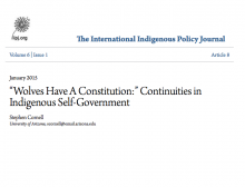 """Wolves Have A Constitution:"""" Continuities in Indigenous Self-Government"""