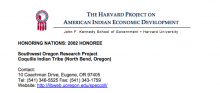 Coquille: Southwest Oregon Research Project (SWORP)