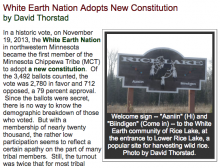 White Earth Nation Adopts New Constitution