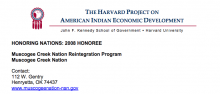 Muscogee Creek Nation Reintegration Program