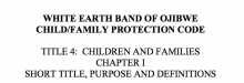 White Earth Band of Ojibwe Child/Family Protection Code