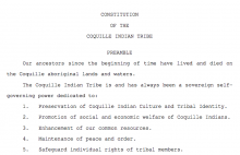 Coquille Indian Tribe: Preamble Excerpt