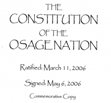 Osage Nation: Distribution of Authority Excerpt