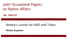 History's Lesson for HUD and Tribes