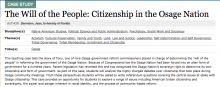 The Will of the People: Citizenship in the Osage Nation