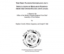 The First Nations Governance Act: Implications of Research Findings from the United States and Canada