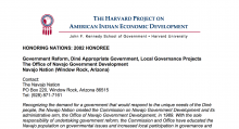 Diné (Navajo) Local Governance Projects
