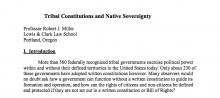 Tribal Constitutions and Native Sovereignty