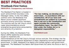 Best Practices Case Study (Transparency and Fairness): Westbank First Nation