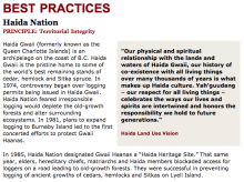 Best Practices Case Study (Territorial Integrity): Haida Nation
