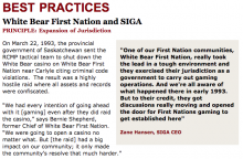 Best Practices Case Study (Expansion of Jurisdiction): White Bear First Nation and SIGA