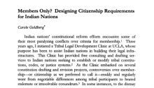 Members Only? Designing Citizenship Requirements for Indian Nations