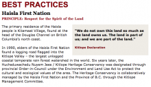 Best Practices Case Study (Respect the Spirit in the Land): Haisla First Nation