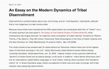 An Essay on the Modern Dynamics of Tribal Disenrollment