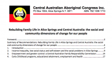 Rebuilding Family Life in Alice Springs and Central Australia: the social and community dimensions of change for our people