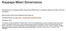 Development of a Kaupapa Maori Governance Model from a Literature Review and Key Informant Interviews