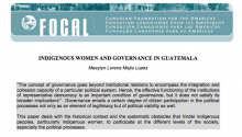 Indigenous Women and Governance in Guatemala