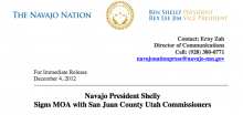 Agreement Signed Between Navajo Nation & San Juan County Utah
