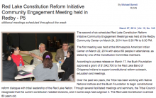 Red Lake Constitution Reform Initiative Community Engagement Meeting held in Redby
