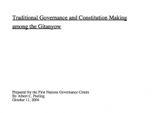 Traditional Governance and Constitution Making among the Gitanyow