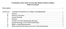Little Traverse Bay Band of Odawa Indians: Governmental Structure Excerpt