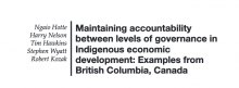 Maintaining accountability between levels of governance in Indigenous economic development: Examples from British Columbia, Canada