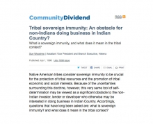 Tribal sovereign immunity: An obstacle for non-Indians doing business in Indian Country?