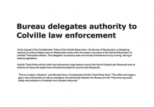 Bureau delegates authority to Colville law enforcement